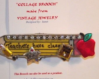Teacher / School theme,  1-of-a-kind Collage Brooch and/or Pendant made w/ vintage jewelry. Red, Apple, ruler, ABC's, pencil, book.. #12h.