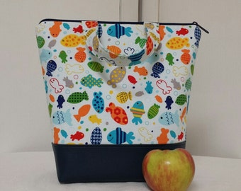 Kids Insulated Lunch Bag, Vinyl Bottom, School Lunch Box, Day Care Bag, Fish, Lunch Bag, Reusable Lunch Bag, Heavy Nylon Liner with Pocket.