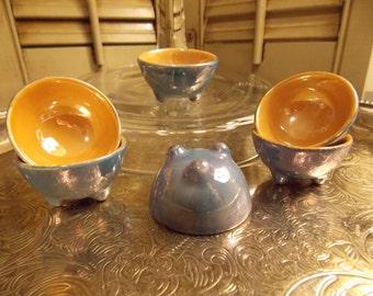 "SALT CELLARS ""Set of Six"", ""Lusterware"" Salt Bowls, Petite Individual Serving Salt Dips"
