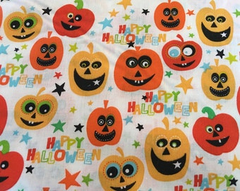 Halloween fabric - jackolantern fabric - jack-o-lantern fabric - pumpkin fabric - Happy Halloween fabric #16493