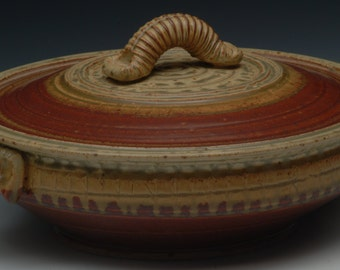 Handmade Stoneware Casserole. Wheel Thrown. Studio Pottery.