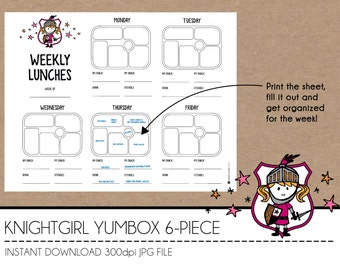 Instant Download Lunch Planner - KnightGirl YumBox 6-Piece