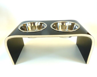 Black Raised Pet Feeder - Square Design available in various sizes