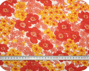 Floral retro vintage fabric - red, yellow and coral