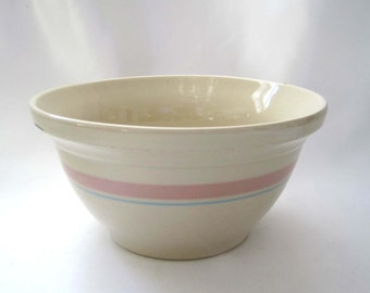 McCoy Memories, Pink and Blue Stripe, Banded Mixing Bowl, Roseville Ohio Pottery, 8.25 inches, Vintage Small Kitchen Bowl, Farmhouse Chic