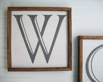 Capital Letter Sign .  Wall Letter . 12 1/2 x 12 1/2 .  Alphabet Sign . Family Sign . Wedding Gift . Gallery Wall . Letter W
