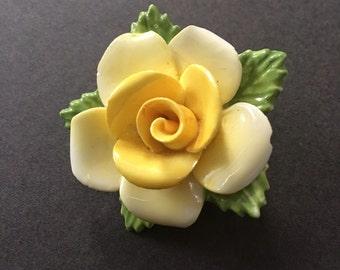 Coalport Vintage Yellow Porcelain Rose Brooch Pin