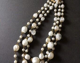VINTAGE PLASTIC BEAD necklace rock crytal look multi strand