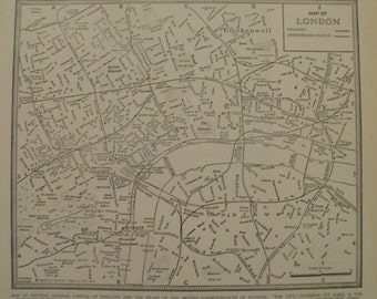 London Map,London England Map,City Map in Europe,Vintage City Map,Places on the World Map,Atlas Wall Art City Map,1939 8x9 VS17
