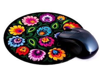 Polish Folk Art Round Mouse Pad - Black