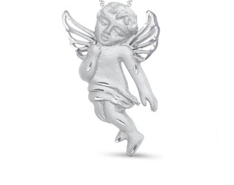 "sterling silver angel pendant with 18"" chain. angelic jewerly, angel, cherub"