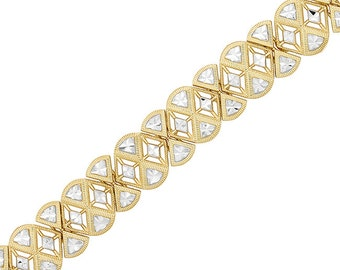 14k solid gold two tone diamond cut fancy bracelet.