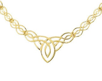 14k solid gold irish love knot necklace. love knot necklace, irish love knot necklace. celtic jewelry