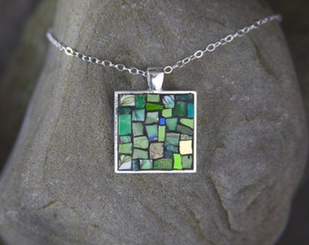 Mosaic Necklace: Green & Gold Textures