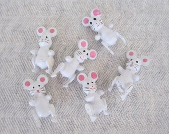 Teeny Tiny Little Vintage Painted Wooden Mice Grey SSCO White Darling Fairy Garden Supply Dollhouse Miniatures