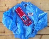 Vintage Gift Set: 1980s Bud Light Beer Baby Blue Satin Jacket with 8-bit Knit Bud Light Football Scarf - Jacket size Small