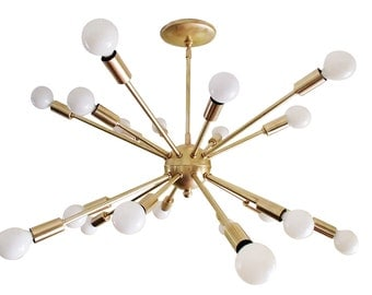 Atomic 20 Arm SPUTNIK Starburst Ceiling Light 50s 60s Mid Century Brass