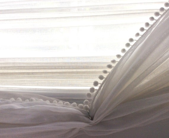 Pair Linen Pom Pom Sheer Curtain 52 39 39 Choose Your By