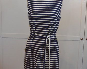 Stacy Ames One of the Four Sisters Navy and Cream Stripe Knit Dress
