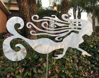 Metal Mermaid, yard stake, yard art, for home or garden, indoor or outdoor, aluminum, will not rust