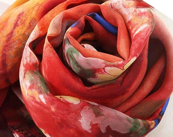 Red Silk Scarf with Floral Print - Red Floral Silk Scarf - Floral Red Silk Chiffon Scarf - AS2015-69