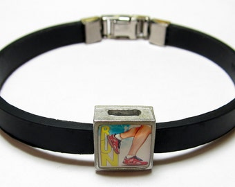 Sport Run Link With Choice Of Colored Band Charm Bracelet