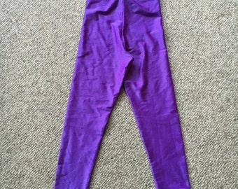 80's 90's Body Effects by Gilda Marx Purple Shiny Spandex Workout Pant/Jazzercise/Shiny Pant size Small Size Medium/Univ of Washington
