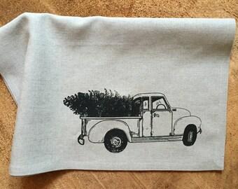 Vintage Truck and Christmas Tree Screen Printed onto 100% Natural Linen Tea Towel, Christmas Decor