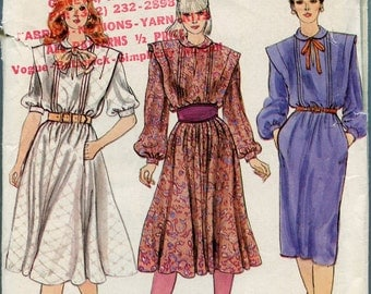1980s Vogue Dress Pattern Flared Skirt Vintage Sewing Pattern Womens Dress Vogue 8174 Size 14 uncut