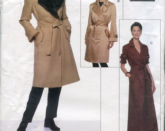 1990s Coat Pattern Vogue 2026 Coat Dress Pattern Jacket Winter Coats Vintage Womens Sewing Patterns Size 6-10 uncut