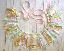 I'm one banner. Fabric strip pink mint gold high chair banner. Birthday banner. I'm one party. Decorative banner. Pink and gold decorations