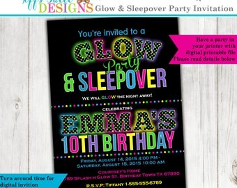 Glow in the Dark Sleepover Party - Birthday Party Invitation - Printable