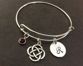 Celtic Bracelet, Irish, Gaelic, Celtic Trinity Knot, Initial Bangle, Personalized, Monogram, Hand Stamped, Alex and, Gift for her, Stamped