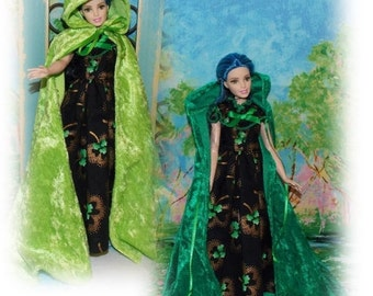 SALE CAPE ONLY  1 Dk Green and 2 Lt Green Available.  St. Patrick's Day 1:6 Scale Fashion Doll Clothes