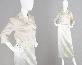 Vintage 60s Two Piece Womens Skirt Suit Textured Gold Maxi Skirt Matching Jacket 1960s Mod Suit Evening Suit 60s Suit Lame Metallic Suit