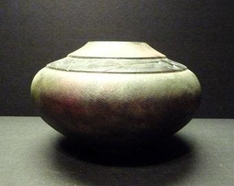 50% OFF ~A Lois Gress-Neal hand created Raku Pottery Vase~Malachite Copper