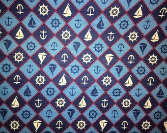 Navy, Blue and Red Nautical fabric by the half yard