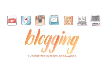 Blogging Productivity for YouTube Periscope Instagram Email and Etsy - Hand-painted watercolor digital clip art PNG & Vector