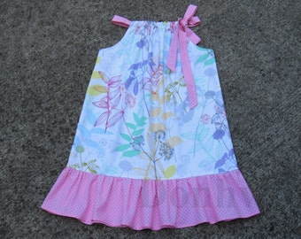 SIZE 8 RTS Girl's Floral Pillowcase Dress.