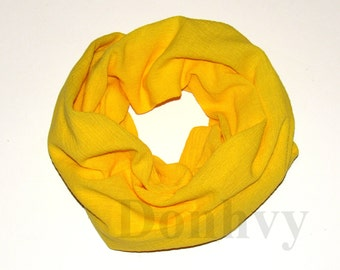Girl's Infinity Scarf. Child Yellow Scarf.
