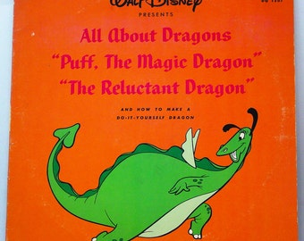 1966 Walt Disney All About Dragons, Puff The Magic Dragon, The Reluctant Dragon, Record DQ-1301 LP. Free Shipping