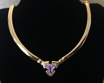 Gold Tone Purple Triangle Birthstone Necklace