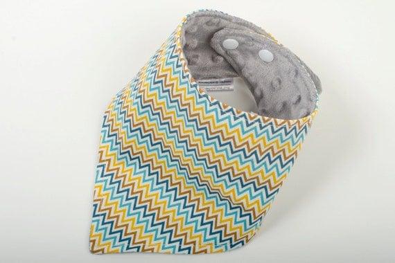 Chevron baby bib, Colourful bandana bib, Chevron print baby gift, Yellow and blue bib, Toddler scarf, Teething baby gift, Unisex baby gift