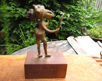 Vintage Morehead Smith Lady Sculpture - Abstract Woman With a Mirror - Fun Woman Sculpture