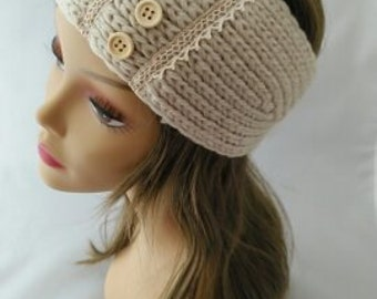 Ivory lace and button head wrap