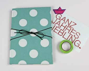 Green notebook, bullet journal, diary of dreams, fabric-based notebook, idea book, diary, notebook, green white dotted