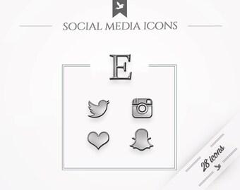 Social media icons - silver / metal