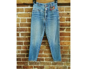 Vintage 80s high waist denim jeans with Mola art- cropped Panama jeans