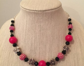 Fantastic Fuchsia and Black Flower Necklace