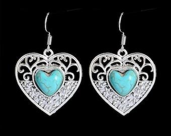 Turquoise Heart Filigree Dangle Earrings